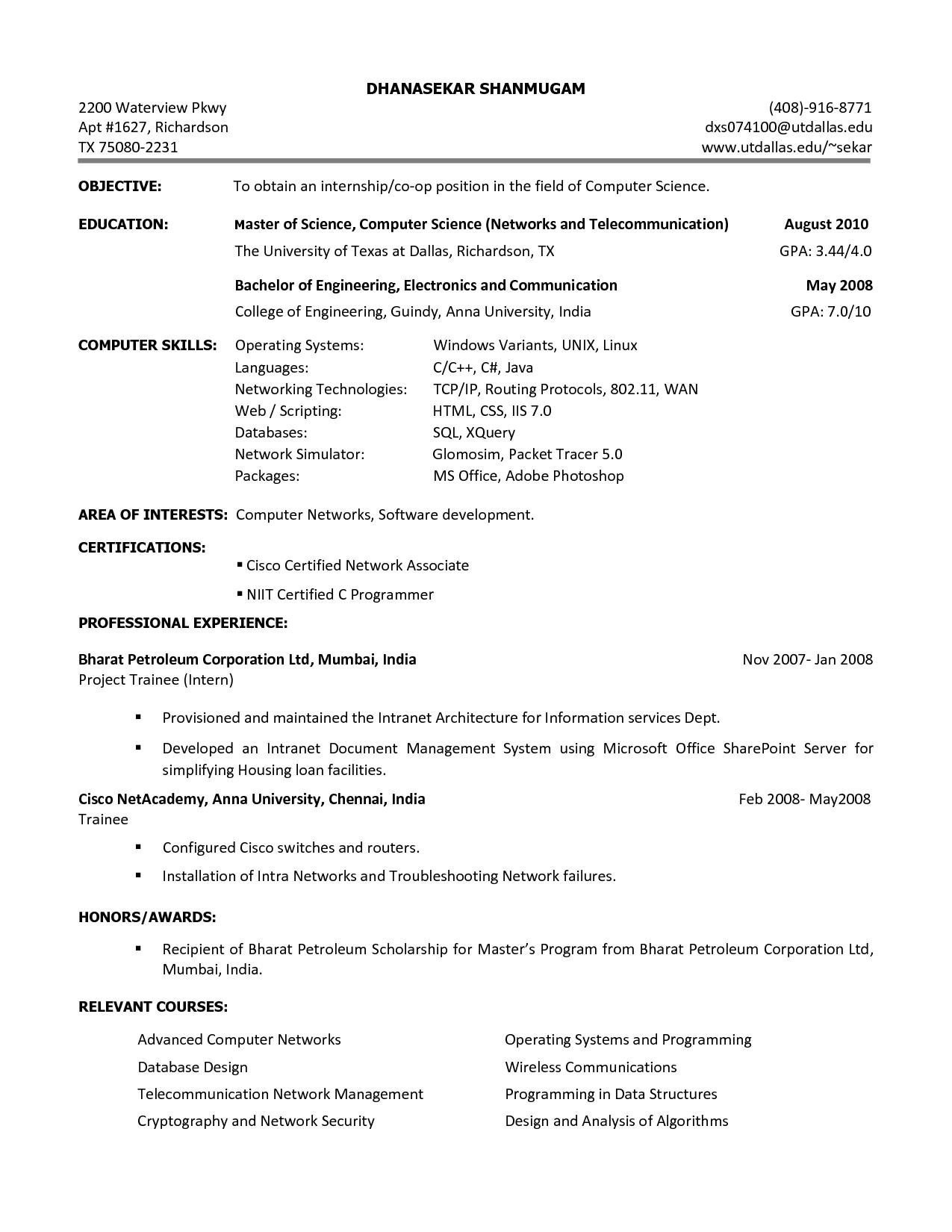 Resume For Internship Software Krys Tk