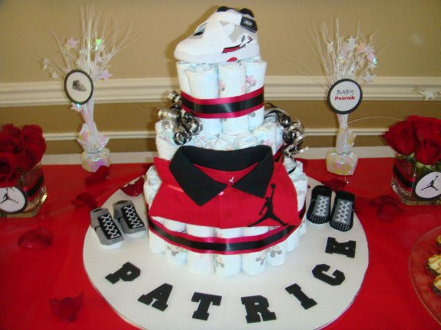 jordan themed diaper cake jordan themed baby shower pinterest