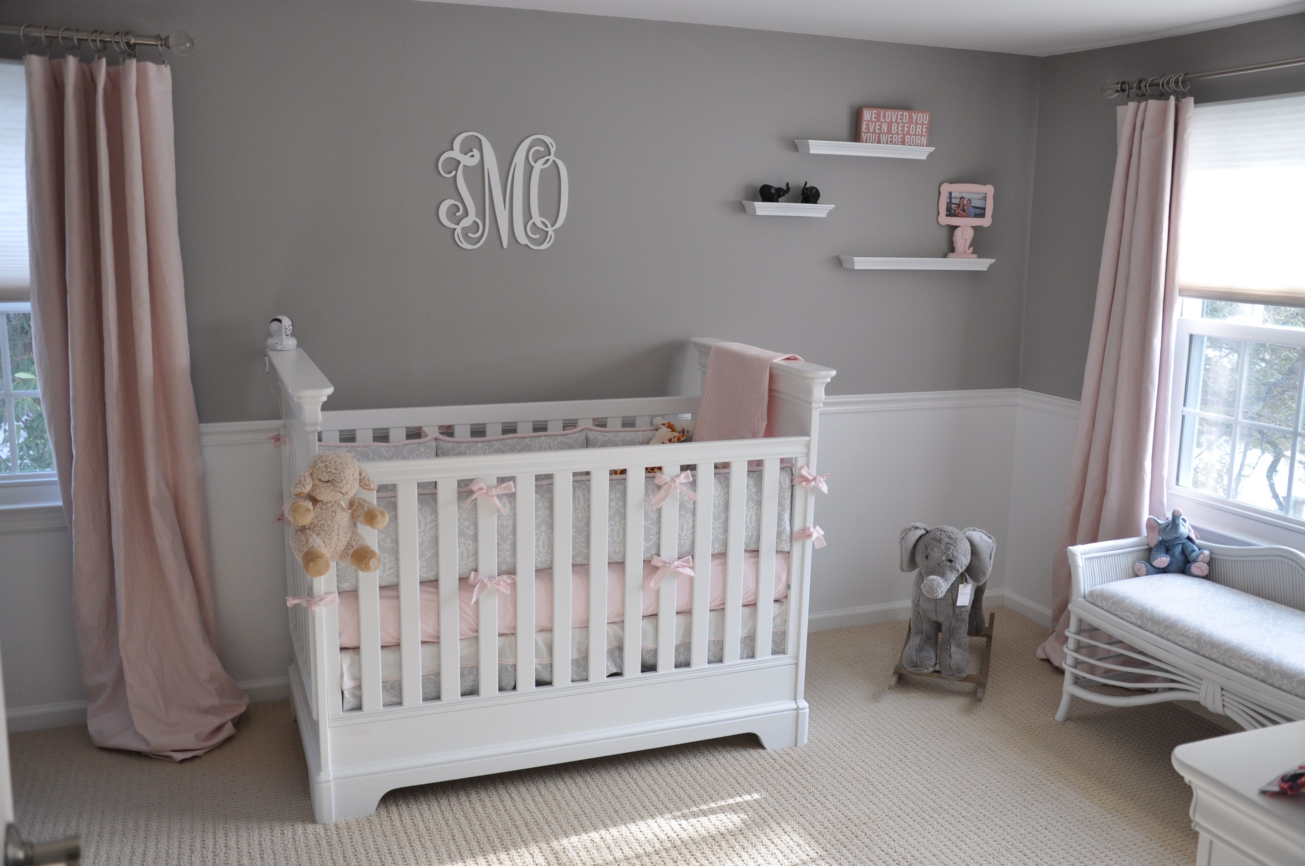 grey pink and white nursery kid rooms pinterest. Black Bedroom Furniture Sets. Home Design Ideas