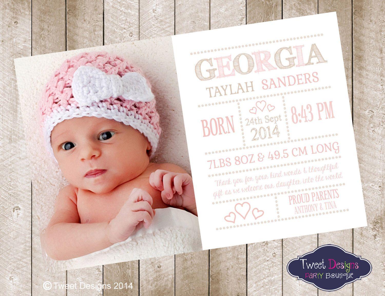 Birth Announcement Girl Printable Baby Thank You Card Photo Invitation Thankyou Card Georgia
