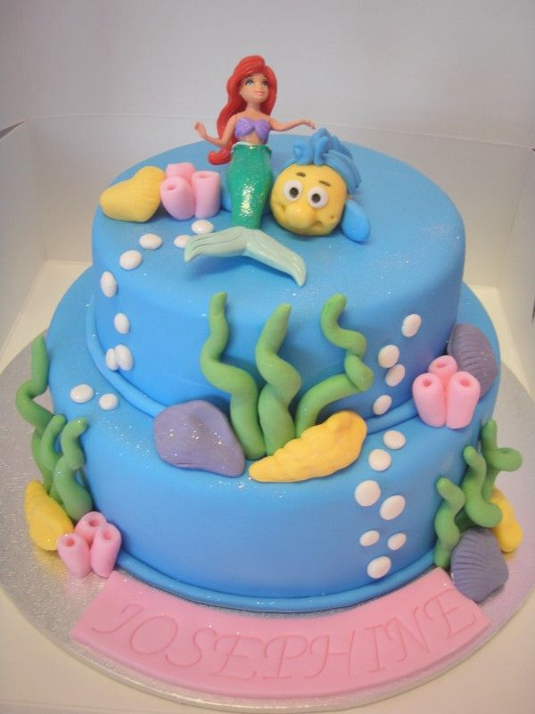 Little mermaid cake fondant pinterest for Ariel cake decoration