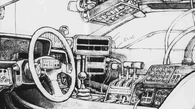 Early concept art for the Delorean Time Machine's interior.