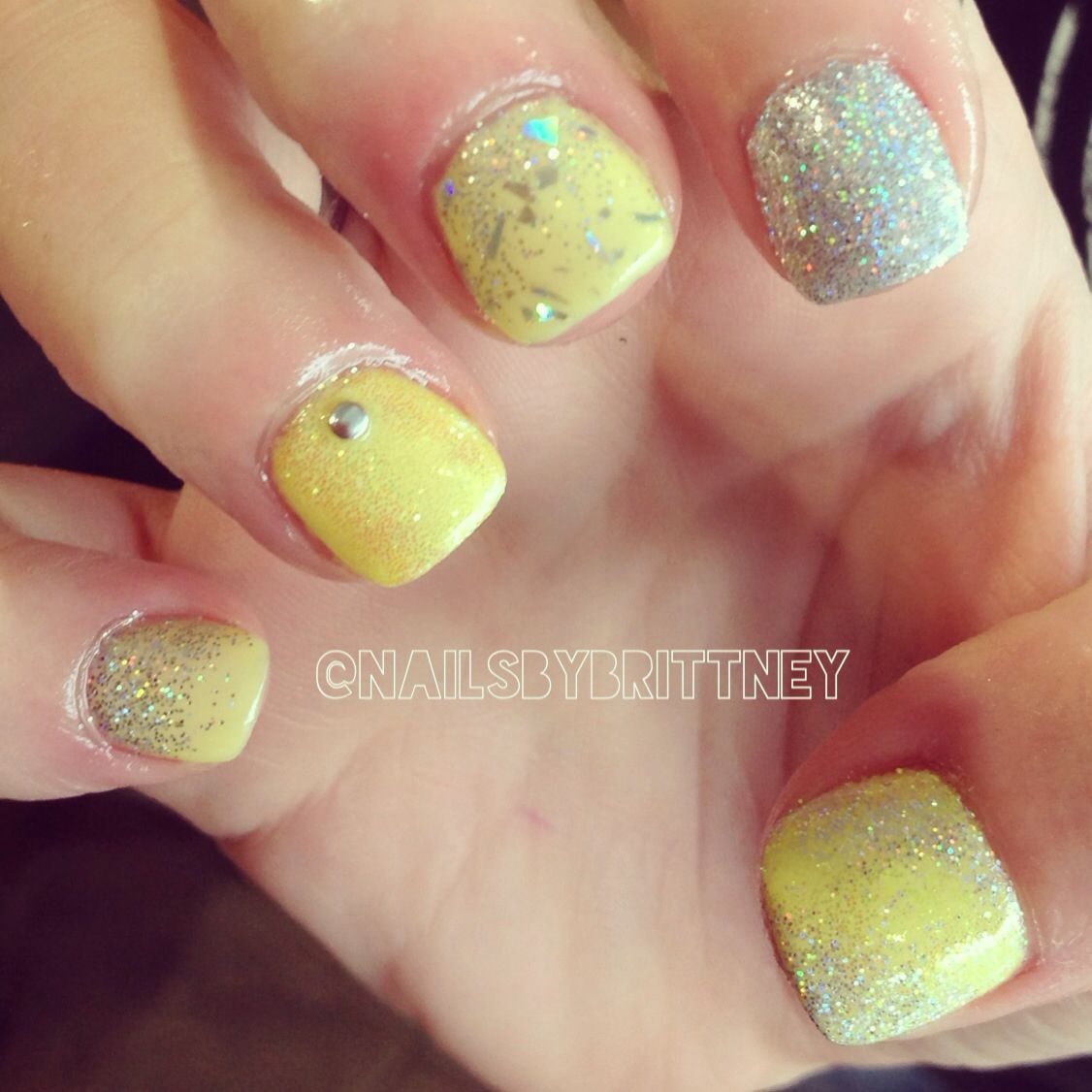 Yellow and silver gel nails | nails | Pinterest