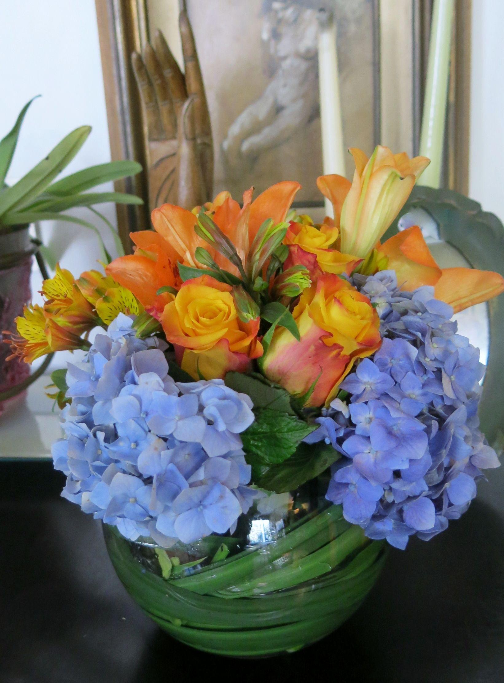 Blue and orange flower centerpiece wedding pinterest