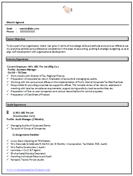 Resume Latest Format For Experienced