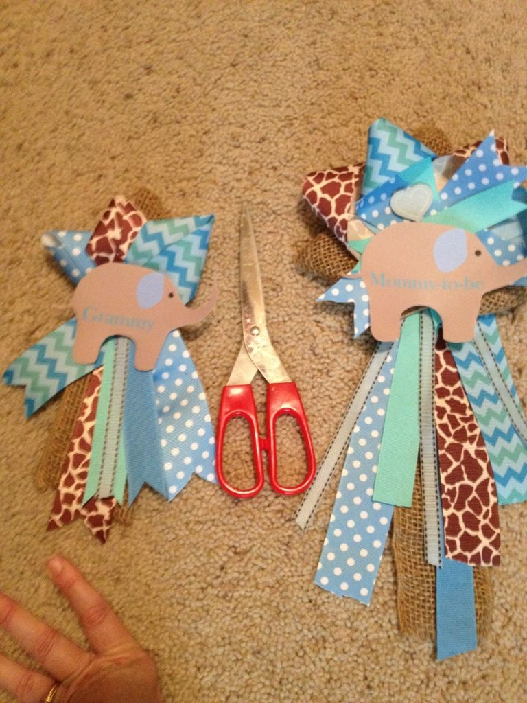 ribbon corsages baby shower boy elephant baybay pinterest
