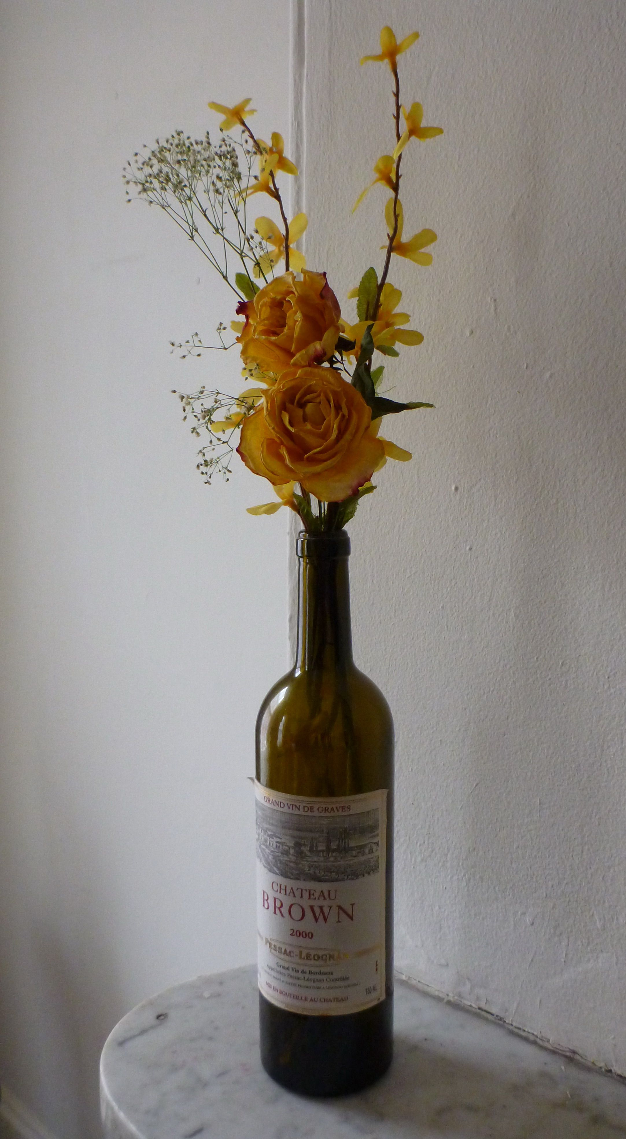 wine bottle with flowers brownieb033 for the home