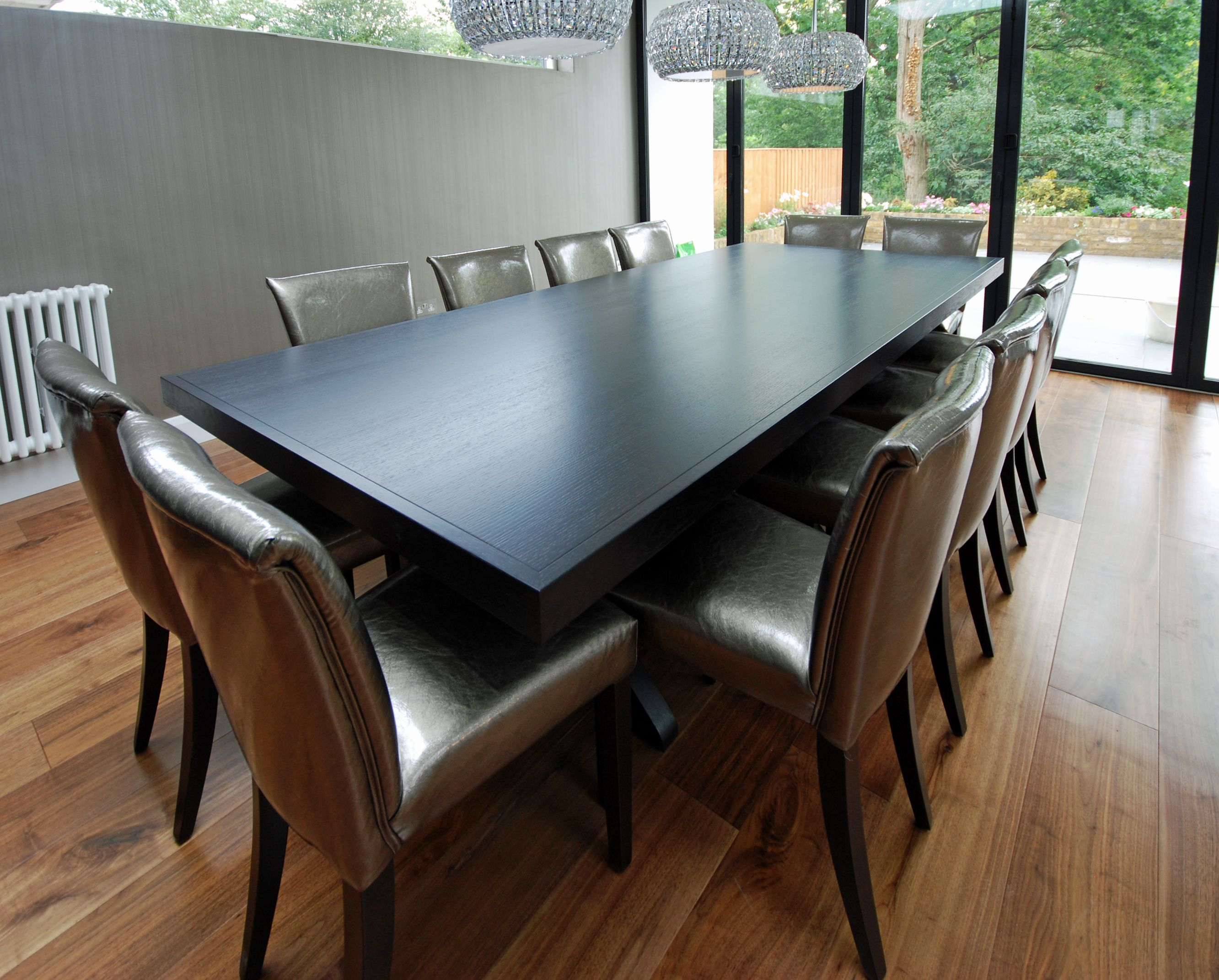 Dining table in oak stained dark grey dining room for Dark grey dining room
