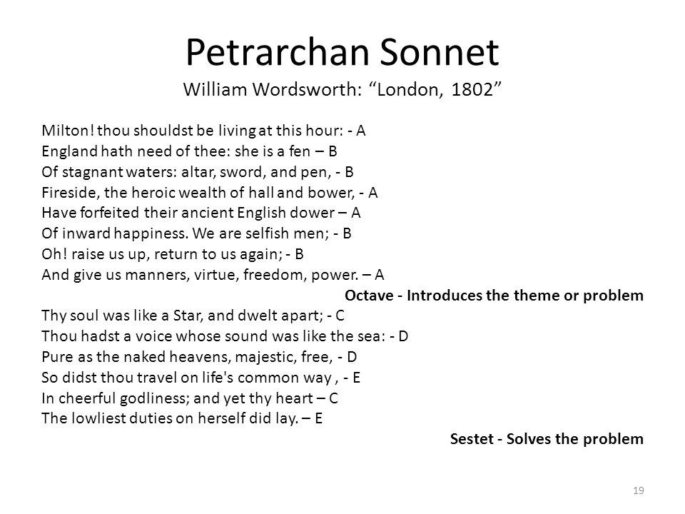 the analysis of wordsworth sonnet london 1802 A short petrarchan sonnet by william wordsworth, london, 1802 is a poem filled with creative symbols that portray wordsworth's analysis of three sonnets by.