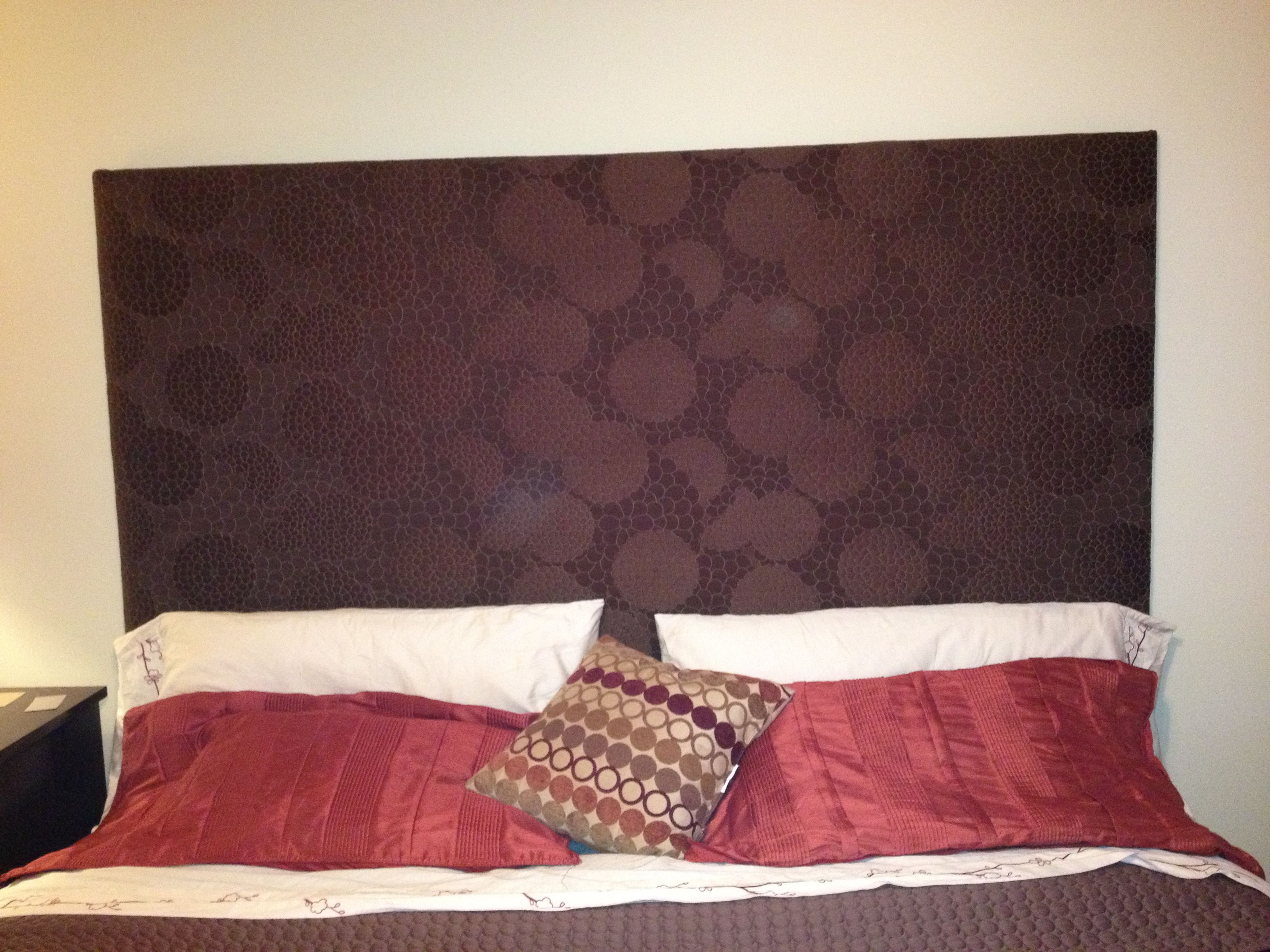 Fabric covered headboard .  For the Home  Pinterest