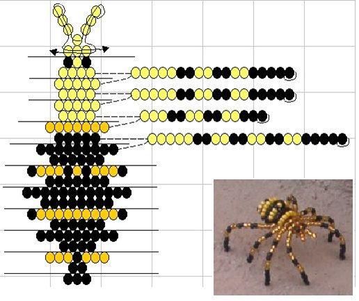Инструкция к пауку из бисера