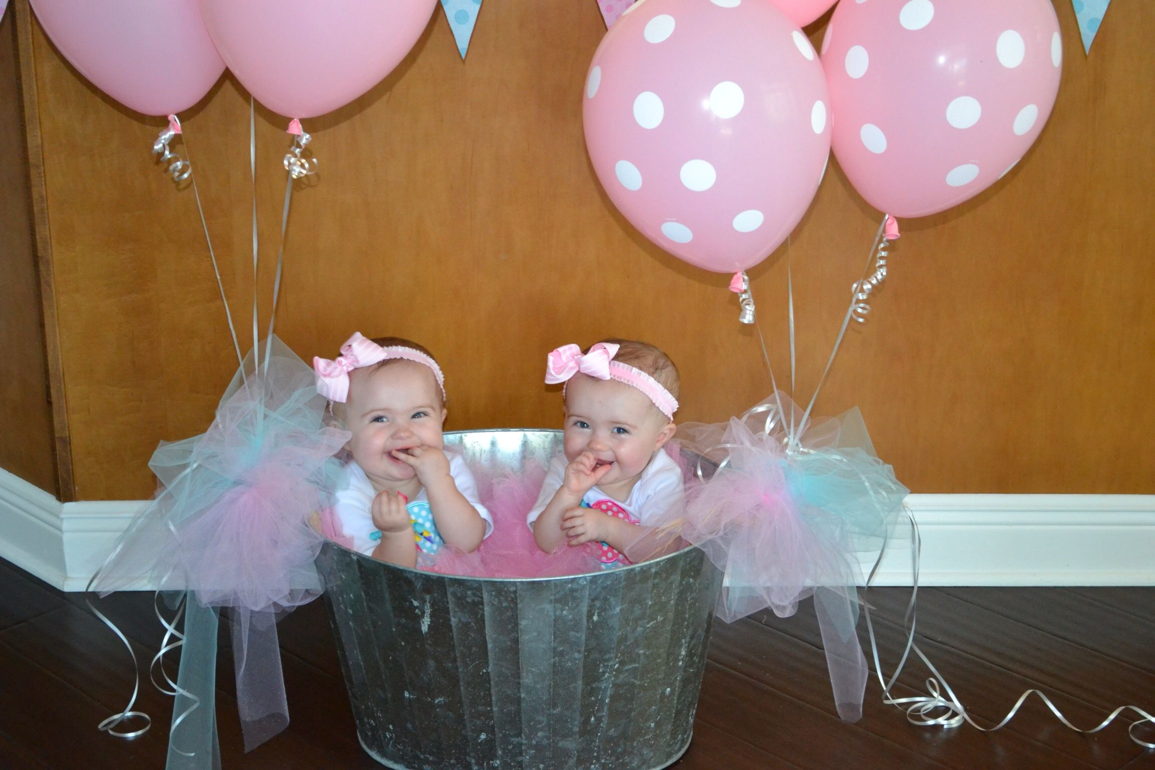 Twins 1st Birthday  Pink & Aqua Birthday Party - Twins 1st Bir...