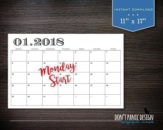 "Large 2018 Printable 12 Month Calendar - Rustic 11"" x 17"" Wall ..."