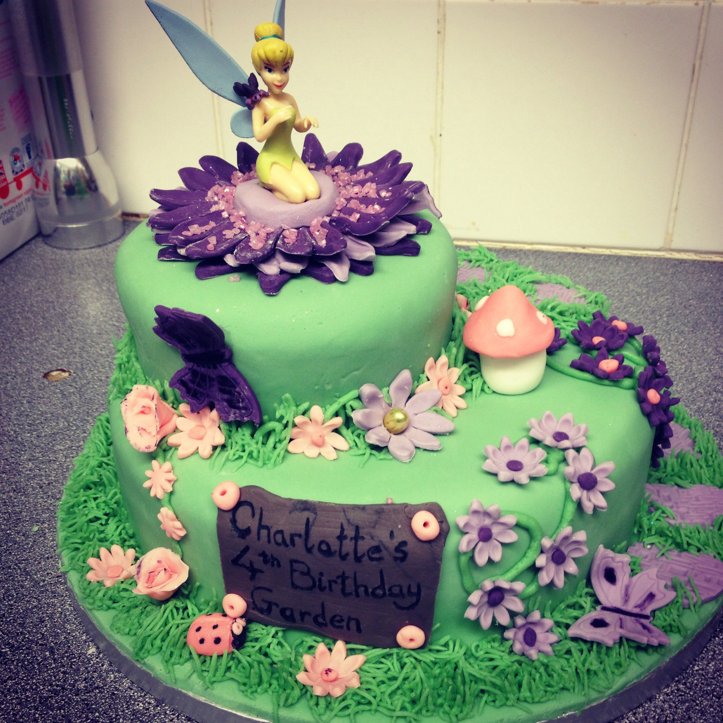 Tinkerbell Fairy Garden cake Birthday cake ideas Pinterest