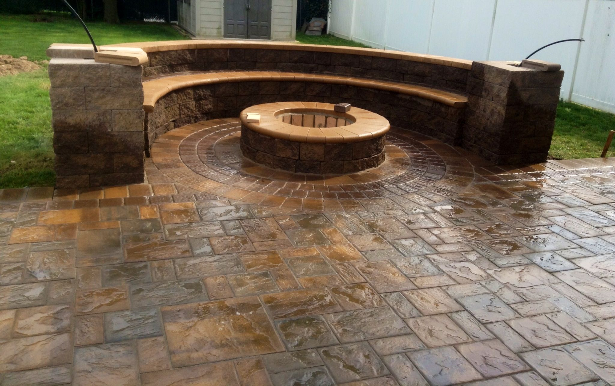 Love the fire pit with bench for the home pinterest Fire pit benches
