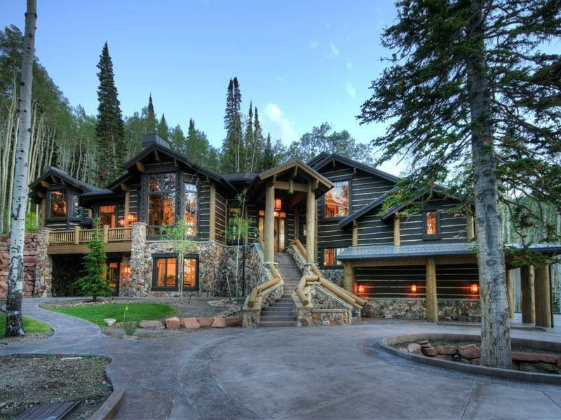 Stone rustic log home home decor rustic stone log for Log and stone house