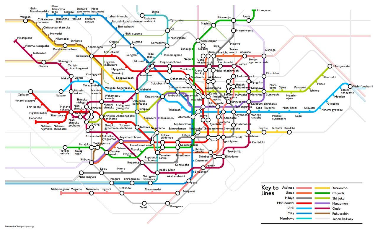 London tube map style Tokyo subway map | Design | Pinterest