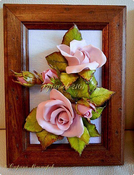 Картина панно рисунок Лепка ТРИПТИХ- РОЗЫ -объёмные картины Фарфор холодный фото 2 панно цветы Pinterest Триптих, Фарфор и Розы