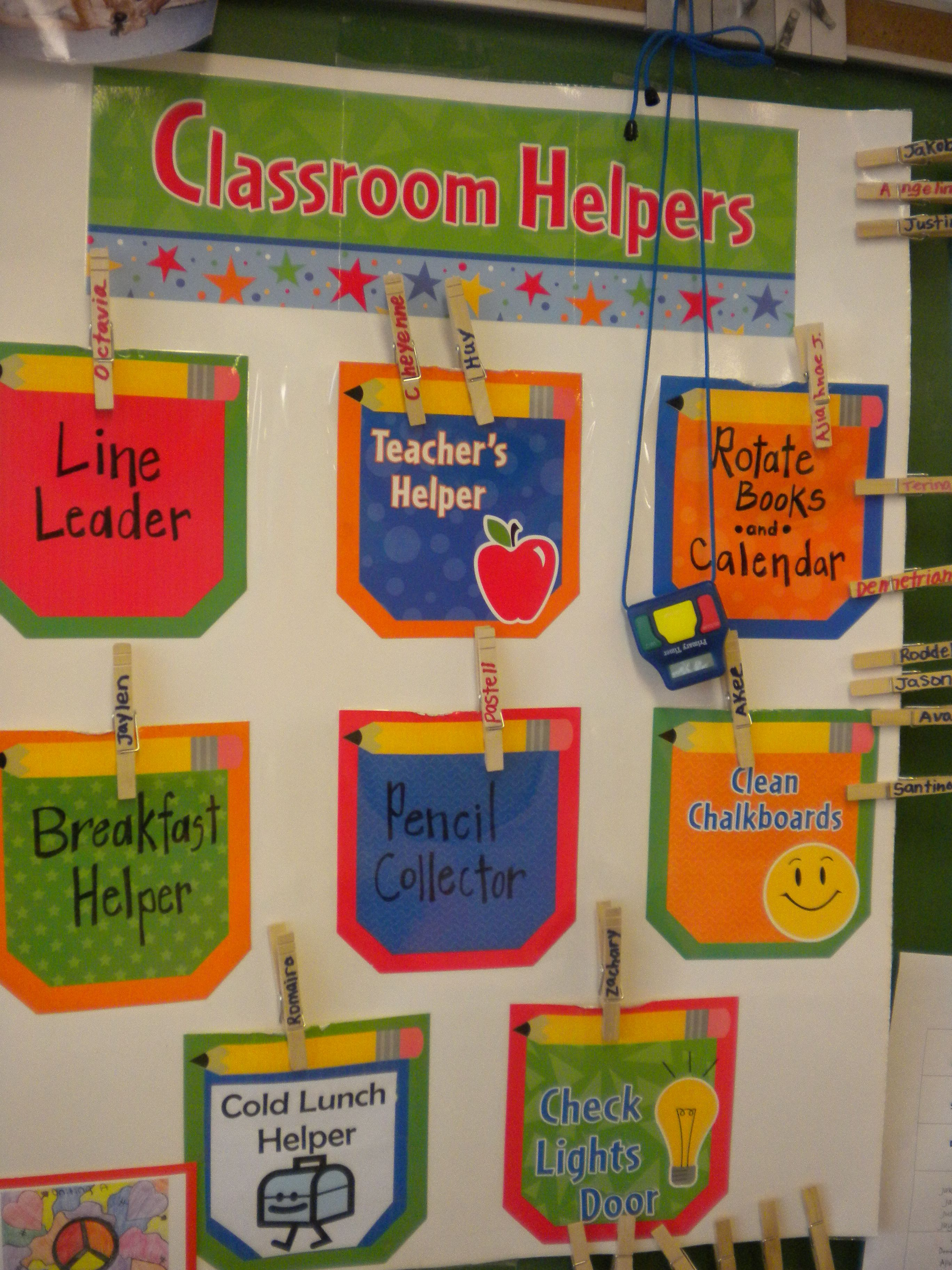 Cute Classroom Helper Idea Classroom Ideas Pinterest