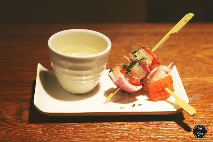 Ceviche de corvina con cilantro, ají amarillo y su leche de tigre - Yakitoro
