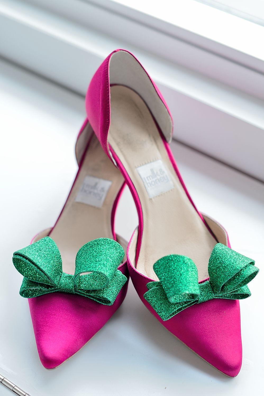 pink and green glitter bow shoes dear alpha kappa alpha