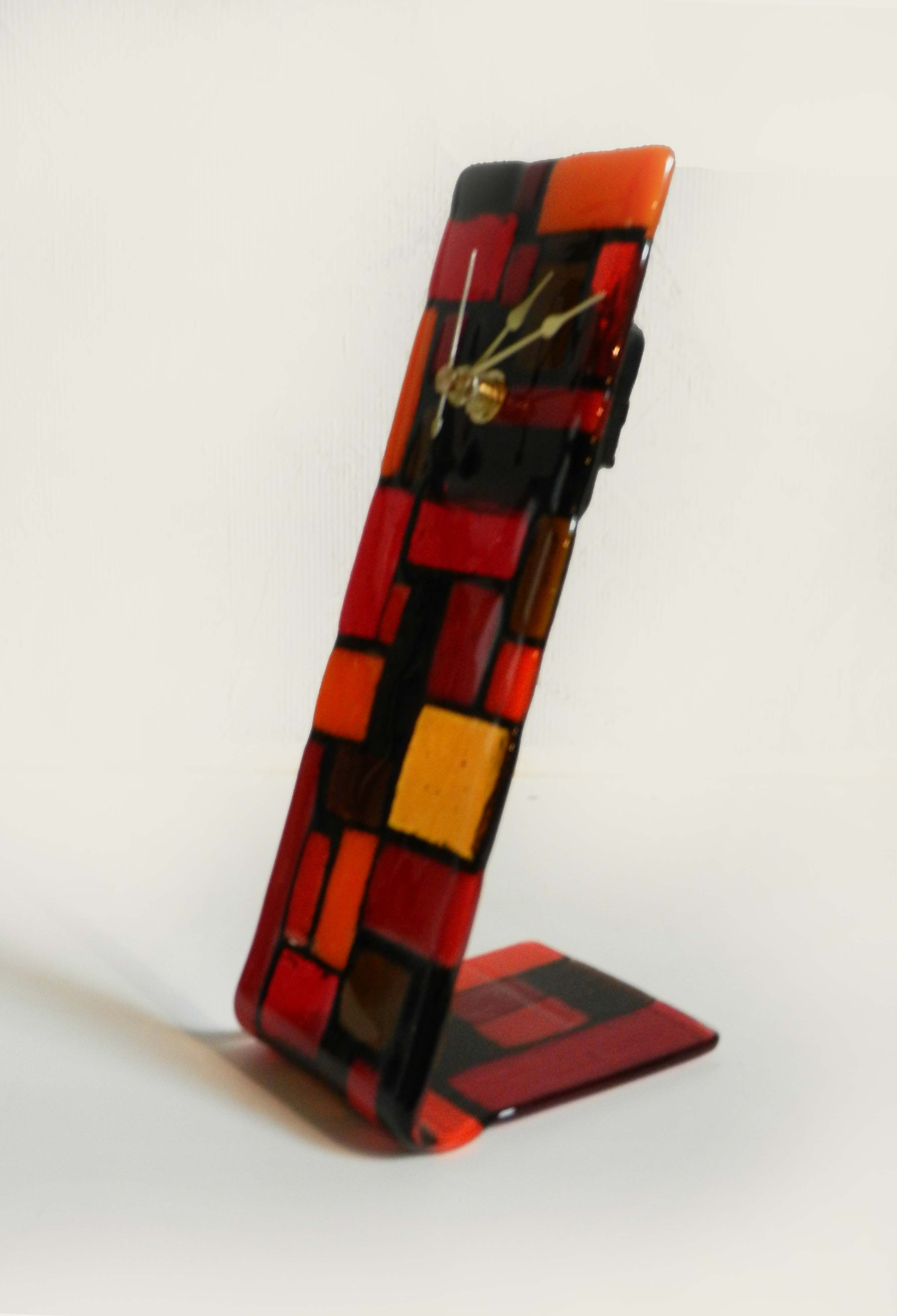 A side view of a desk clock fused glass ideas pinterest for Fused glass wall clocks