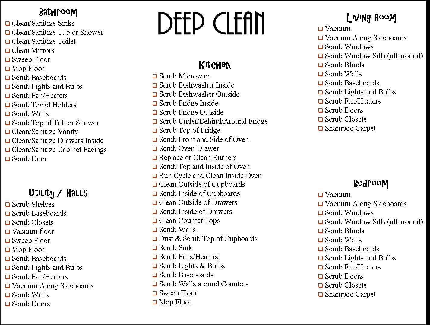 Bathroom cleaning checklist sheet pdf just b cause for Bathroom deep cleaning