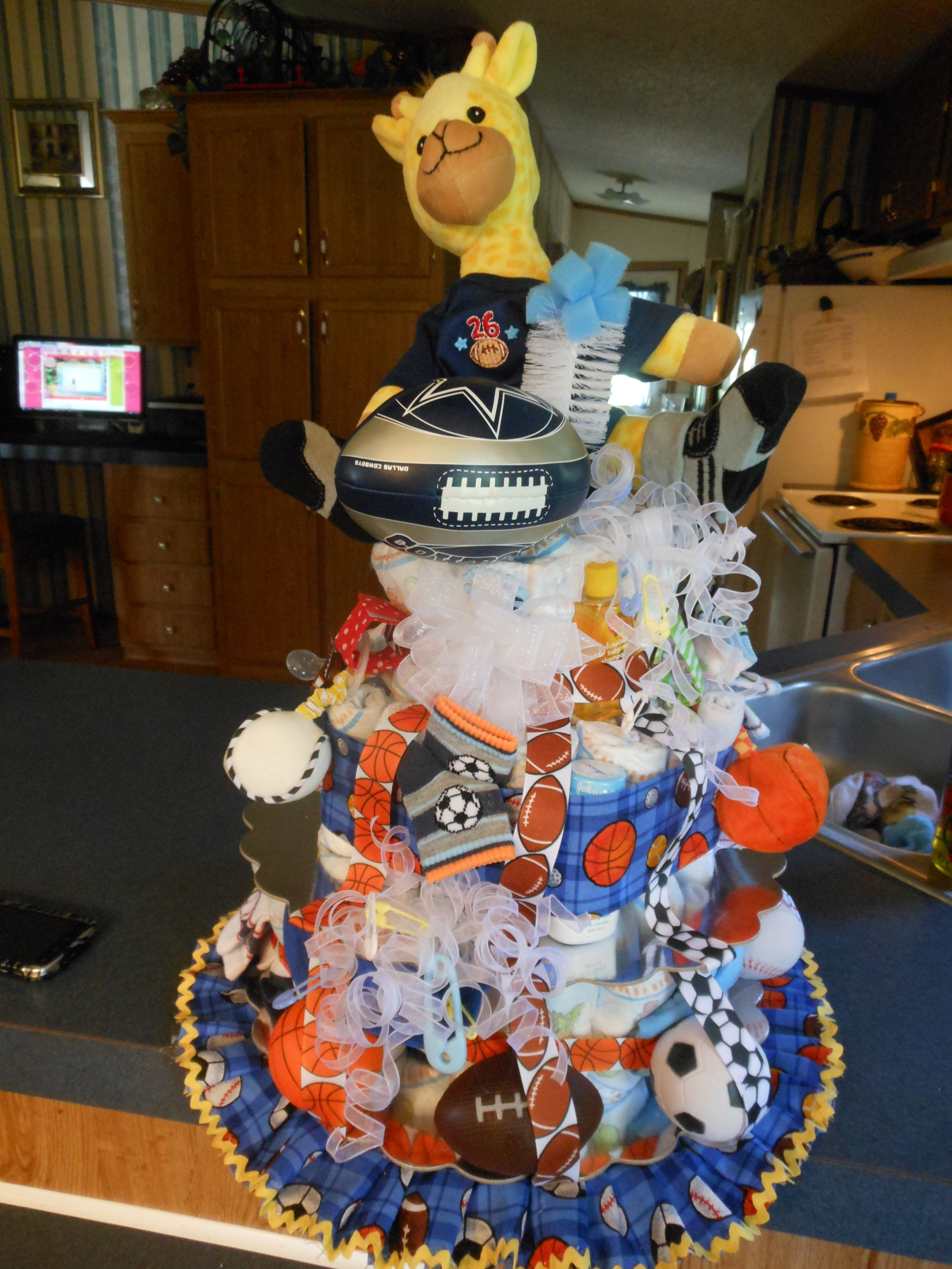 sports theme diaper cake i made for my cousin 39 s baby shower baby