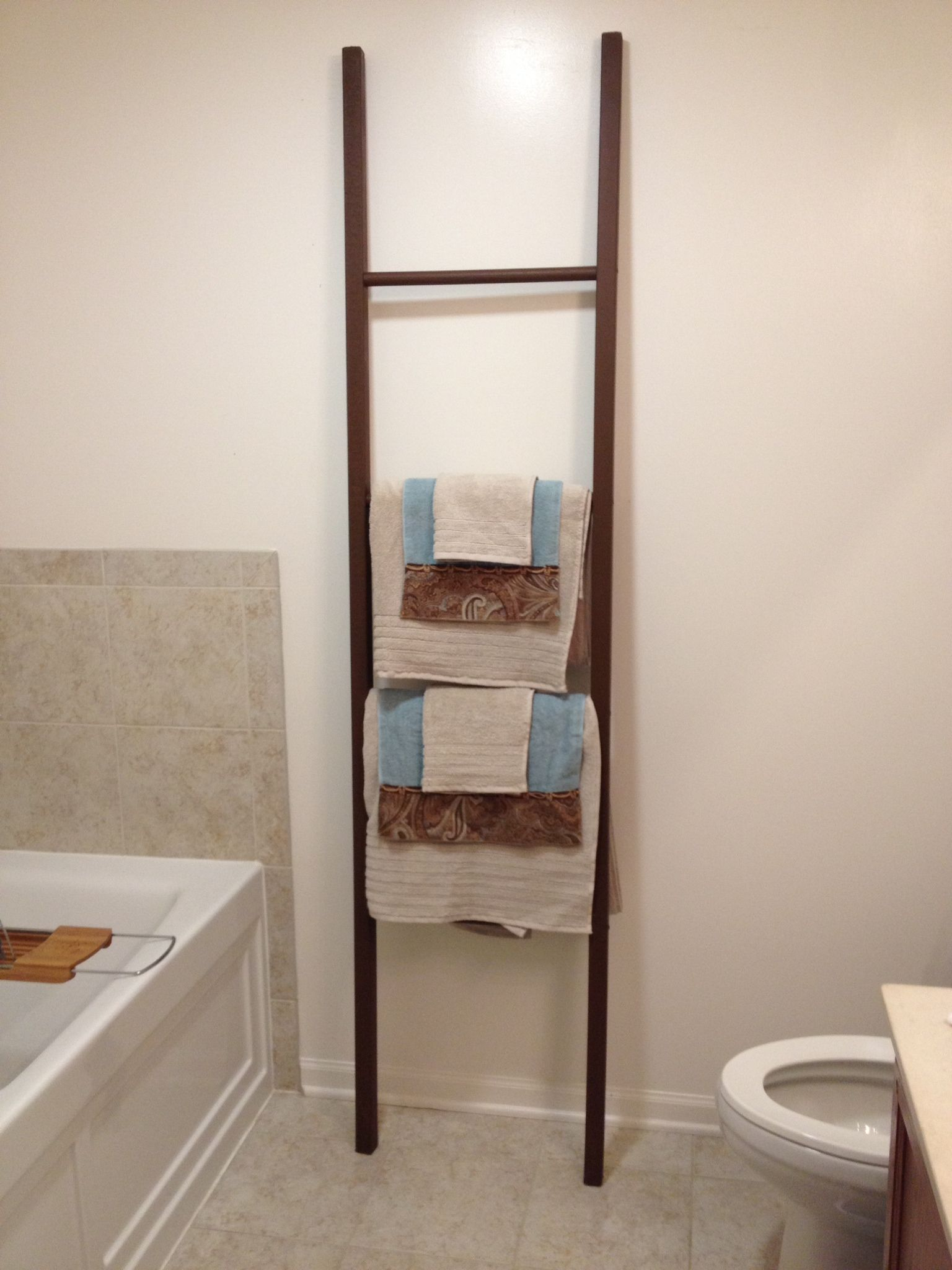 Bathroom towel storage homemade ladder home pinterest for Bathroom towel storage