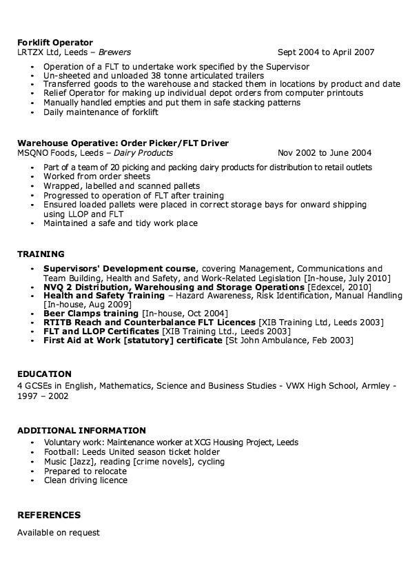 Resume Sample For Warehouse Supervisor