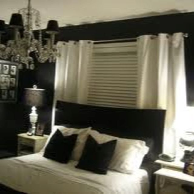 Curtains behind bed | Future Home Decor | Pinterest