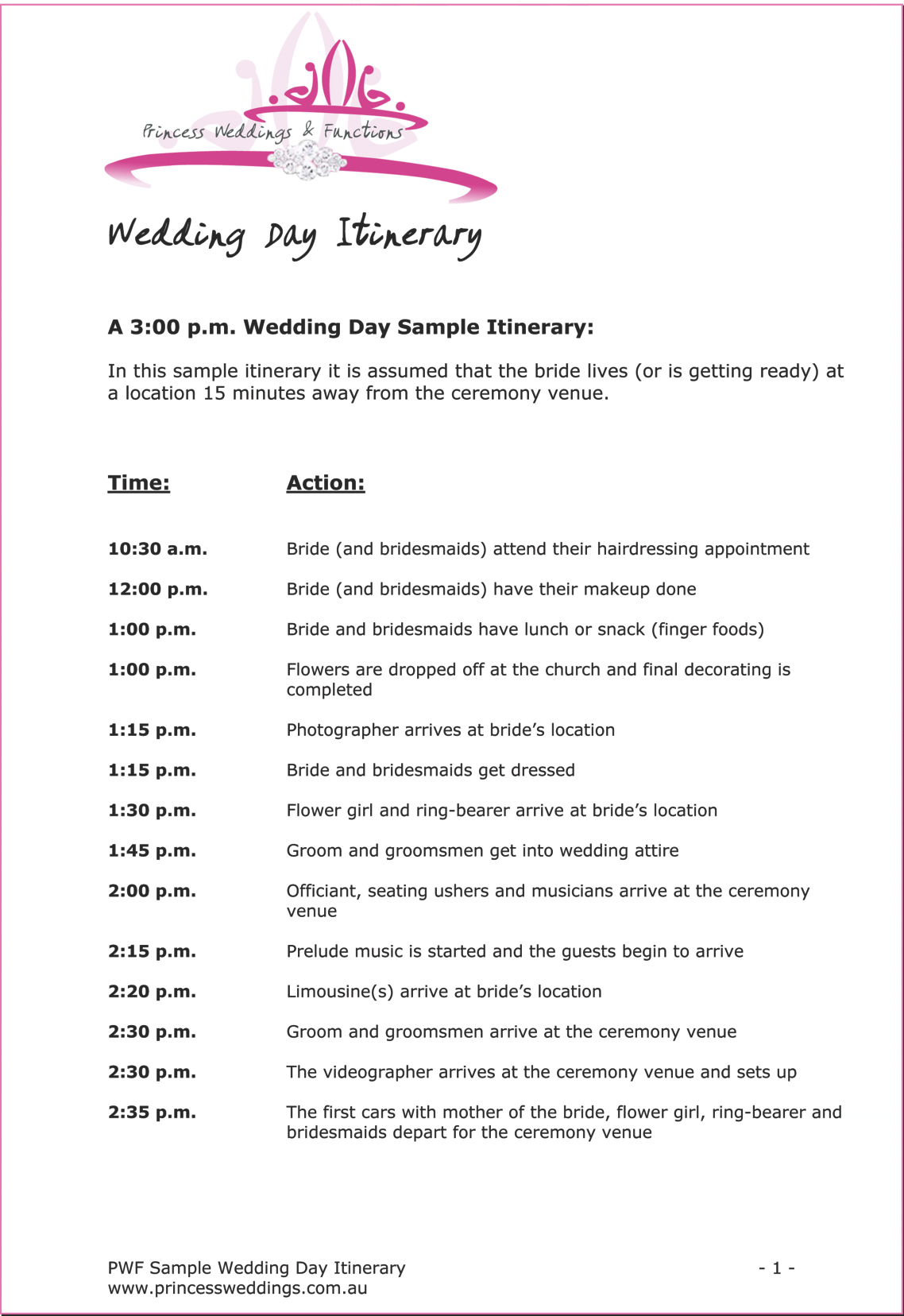 itinerary for wedding reception printable editable blank