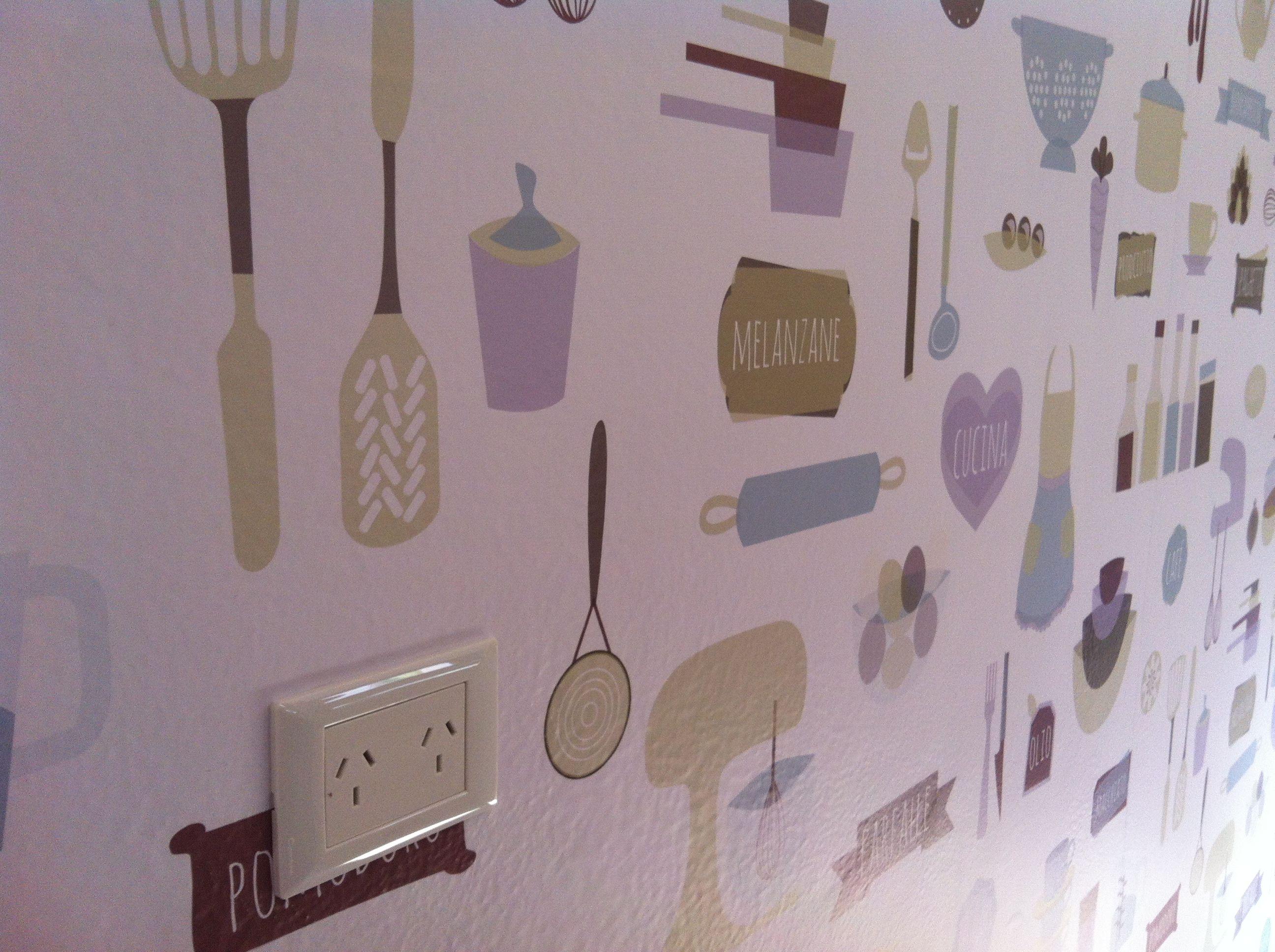 Empapelado cocina con elementos empapelados pinterest for Elementos cocina