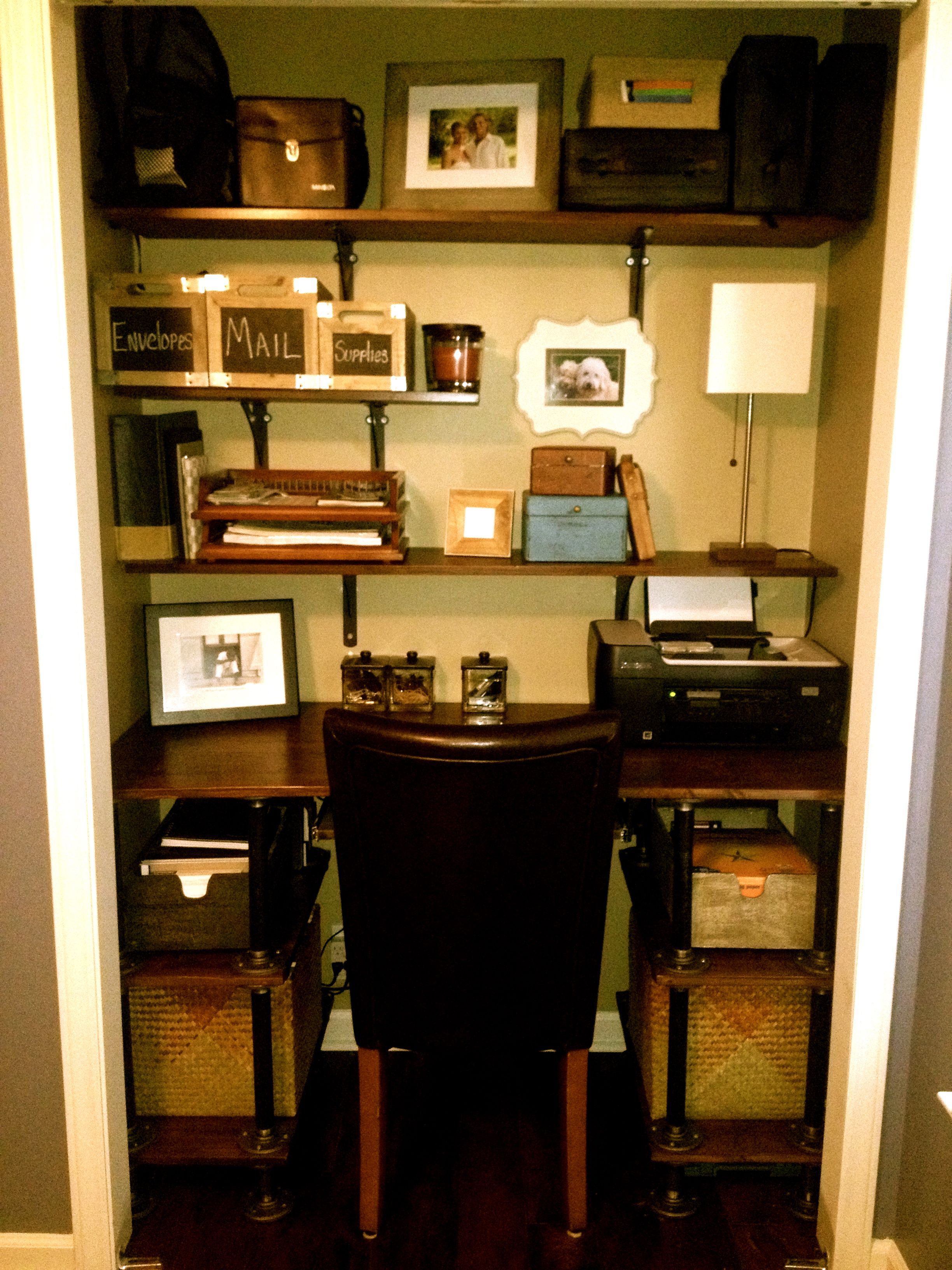 Closet Desk Pipe Desk Office In Closet Pinterest