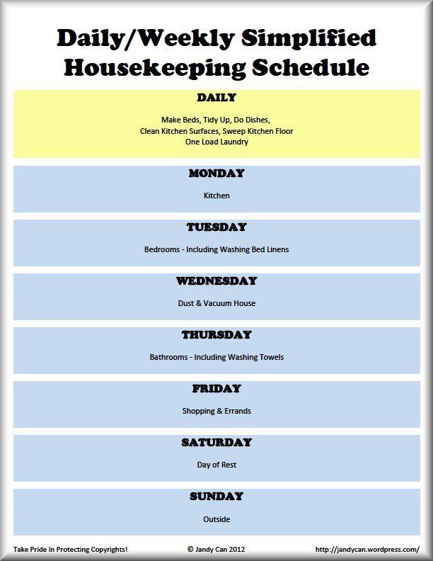 Daily House Cleaning Schedule | April Calendar | April Calendar