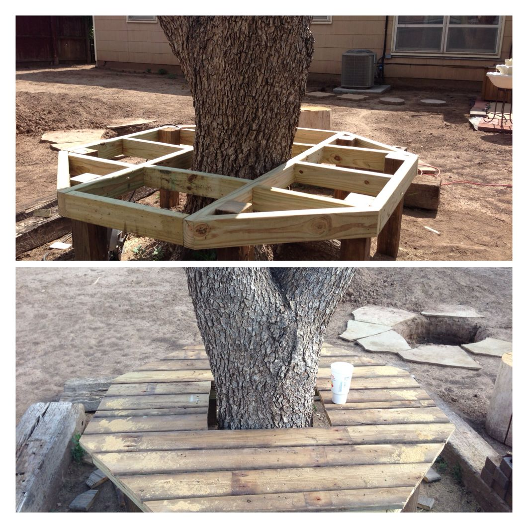 Amazing photo of DIY: Bench around tree:) Gardening ideas . Pinterest with #80664B color and 1062x1062 pixels