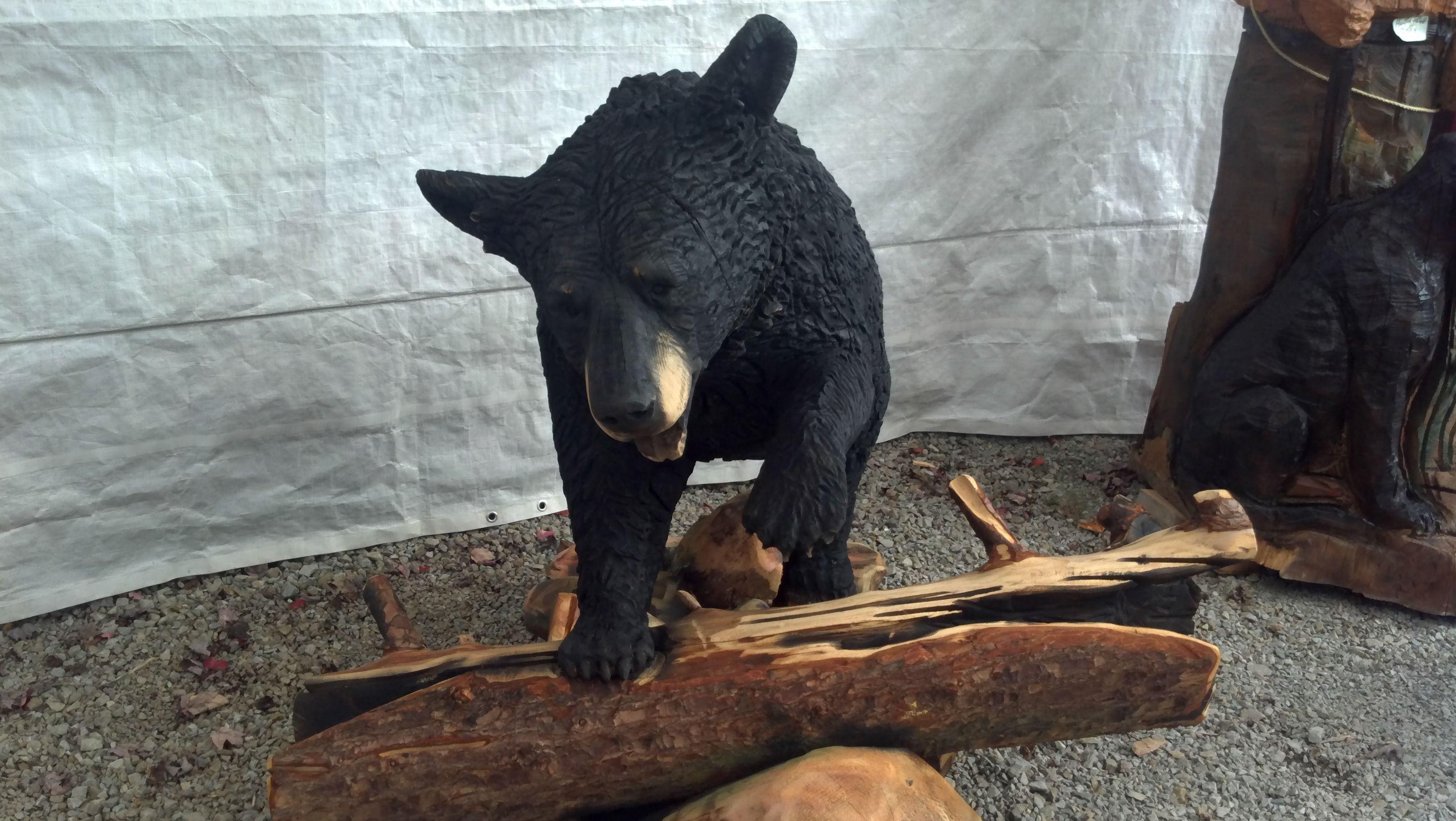 Chainsaw carved black bear art pinterest