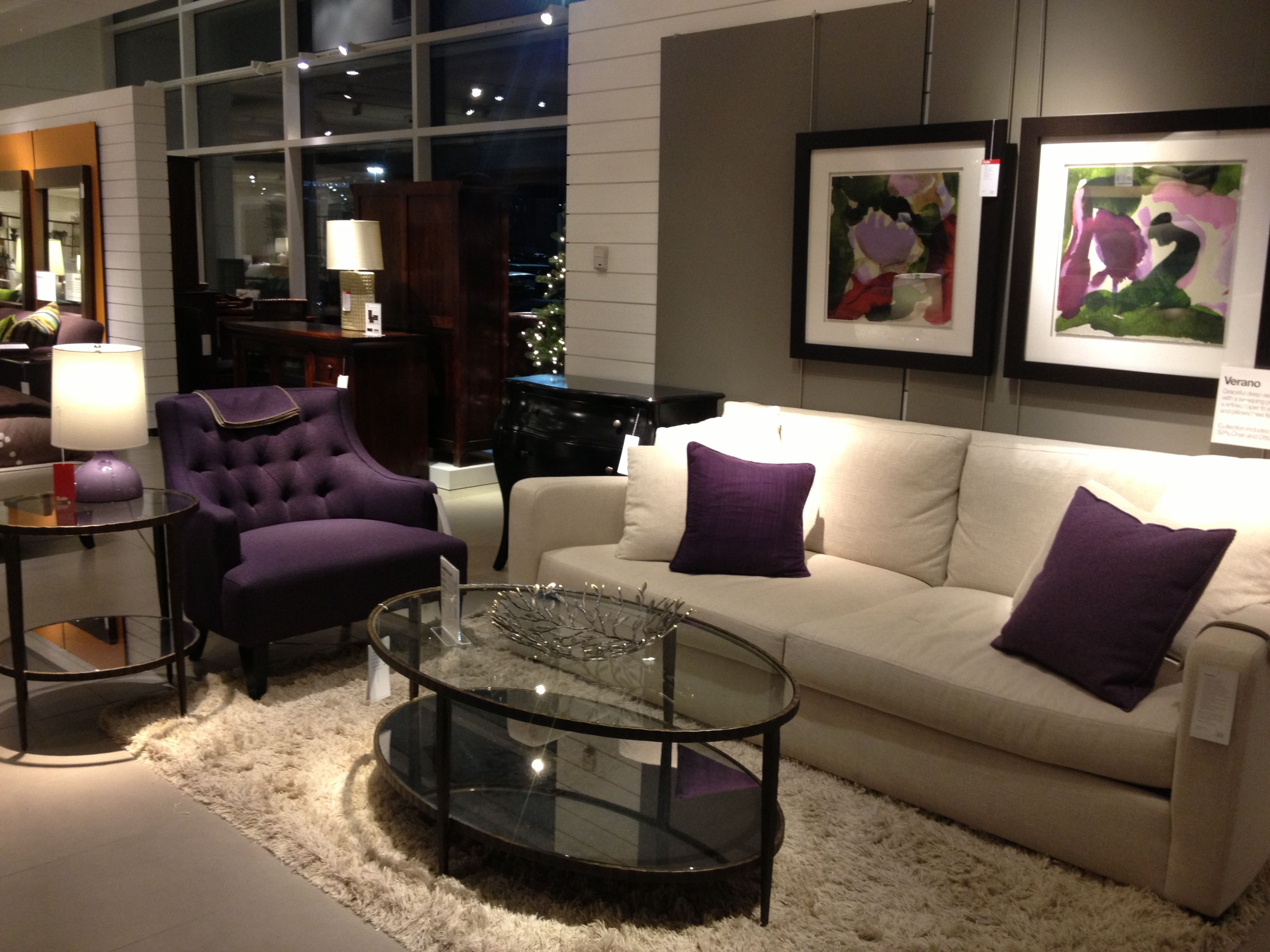 purple crate barrel living room set home decor pinterest
