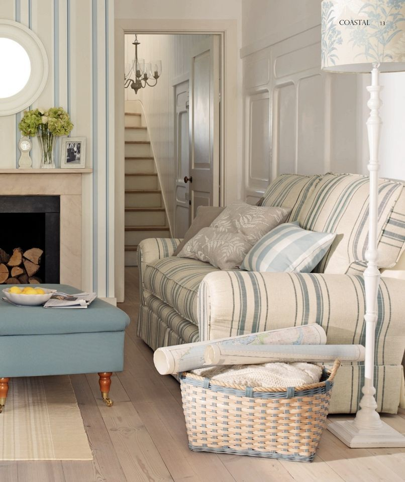Cottage blue cream living room coastal interiors for Living room jake miller