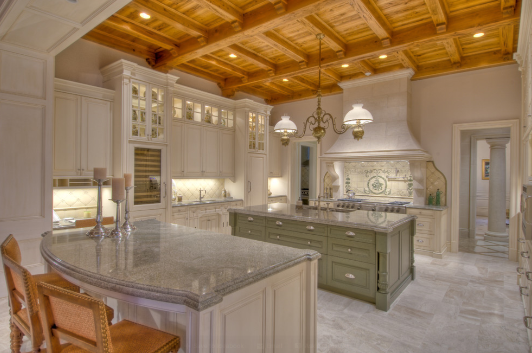 Natural Wood On White Kitchen Kitchen Cathedral Ceiling