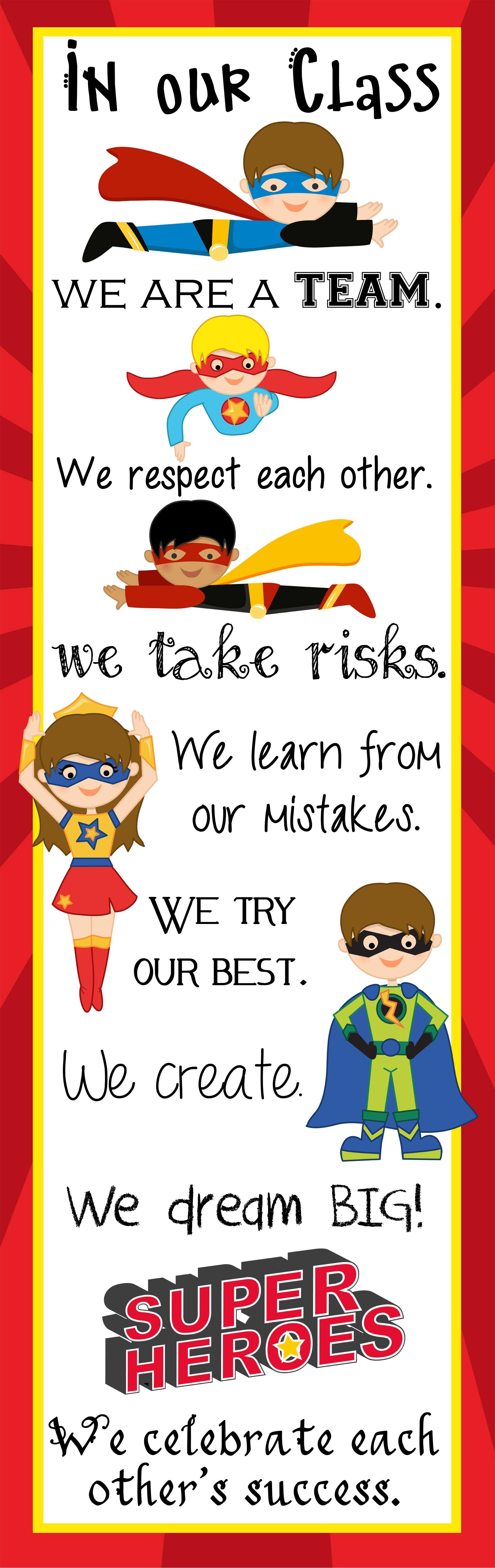 Classroom Decor Superhero : Superhero super improver wall free classroom