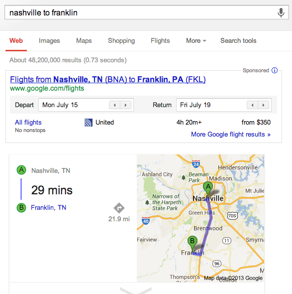 SERP query Nashville to Franklin