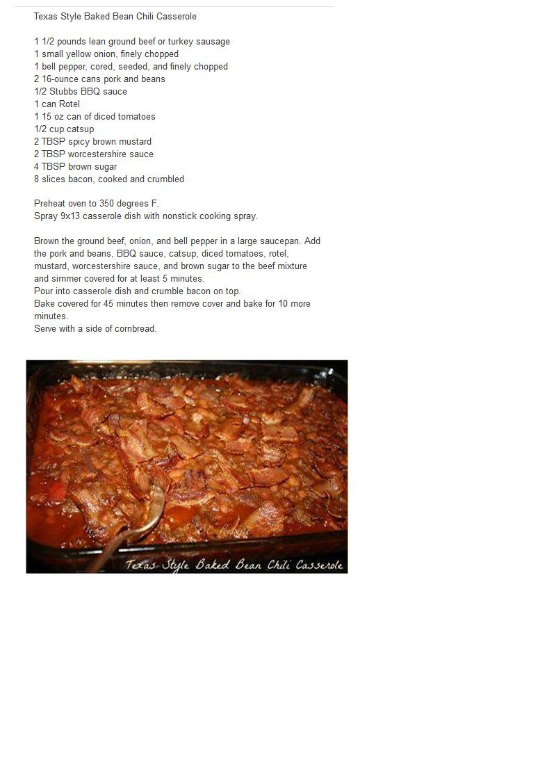 TEXAS STYLE BAKED BEAN CHILI CASSEROLE | RECIPES FOR ME | Pinterest