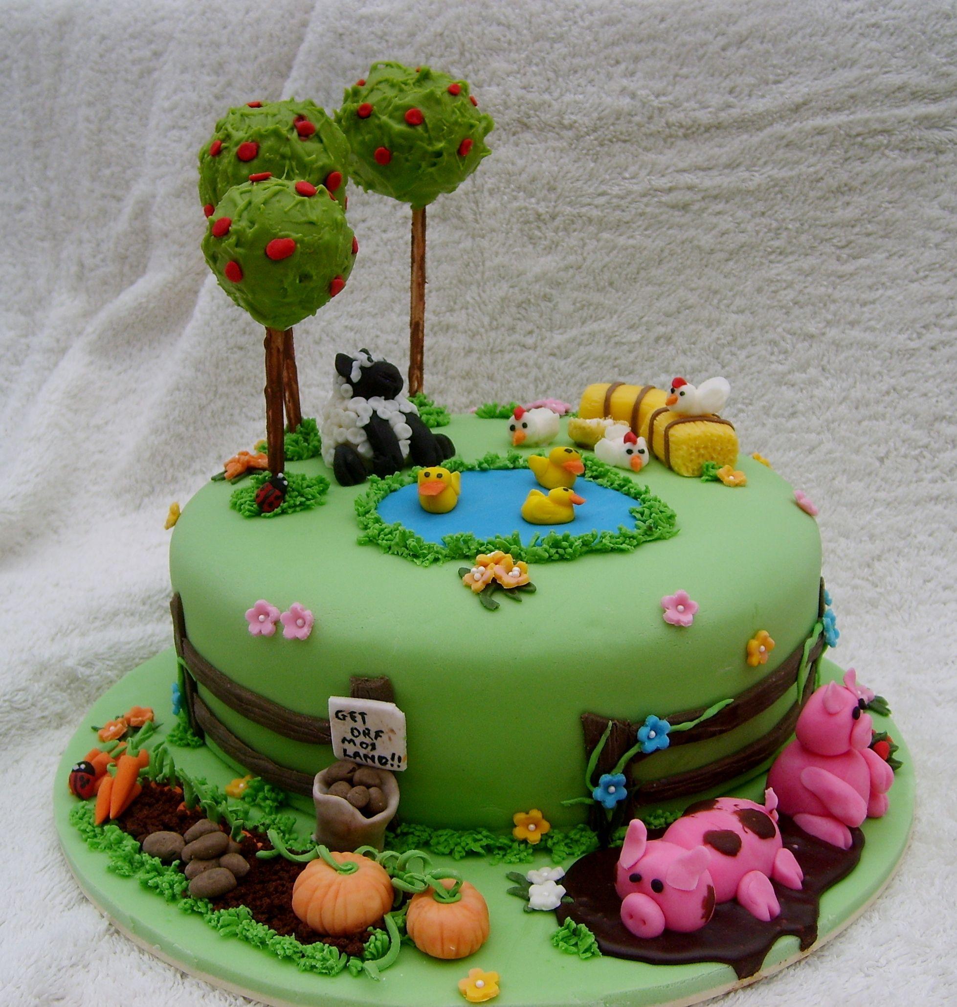 Cake Decoration Farm Theme : Another angle on my farm themed cake Cakes Pinterest