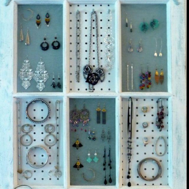 Old window jewelry organizer craft ideas pinterest for Old window craft ideas