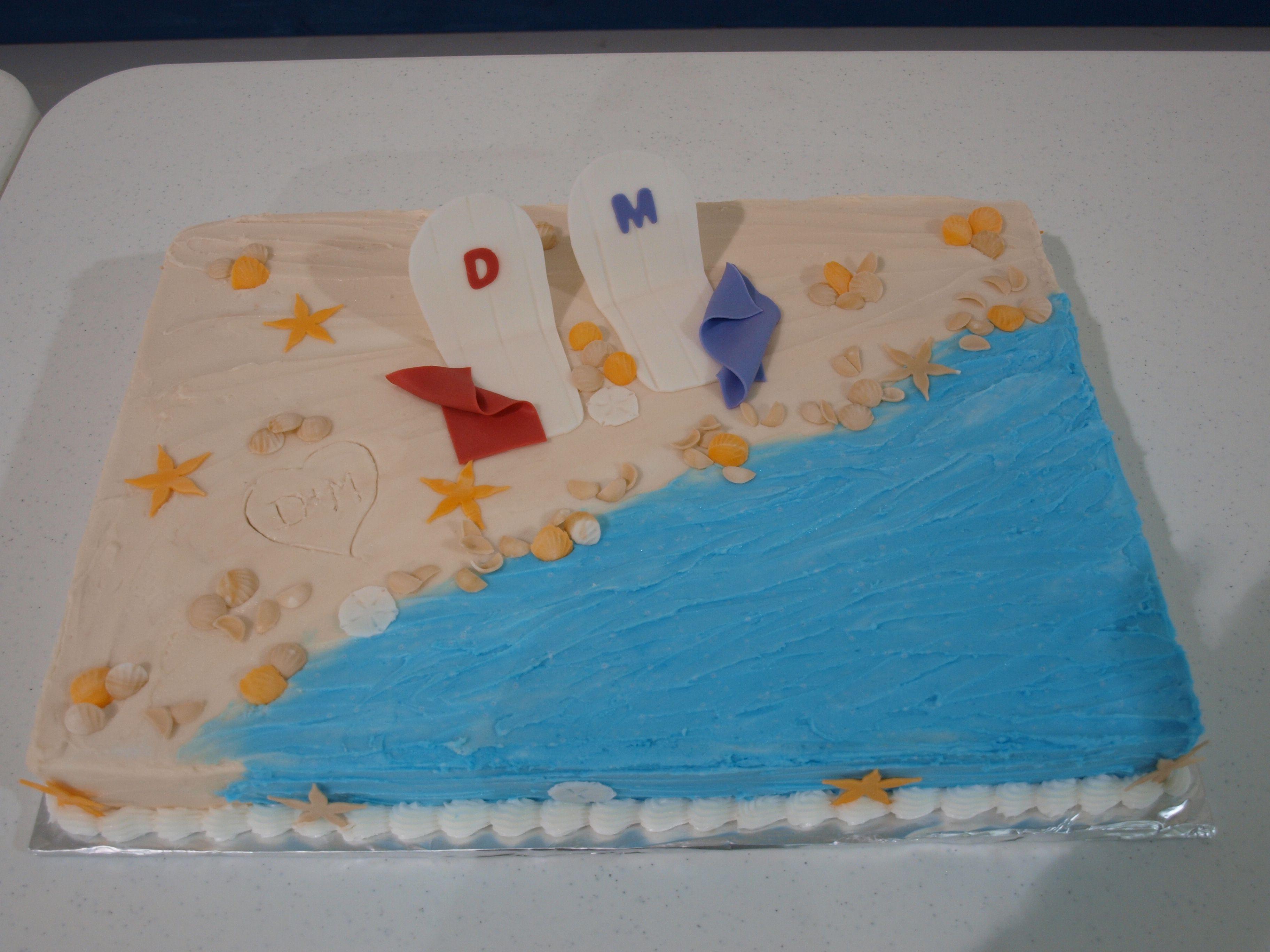 Beach themed bridal shower cake My Cakes