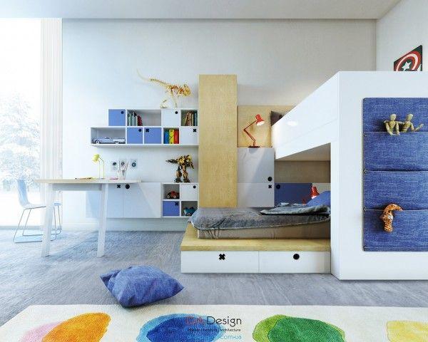 Phòng trẻ em với nhiều ánh sáng và bảng màu khác nhau