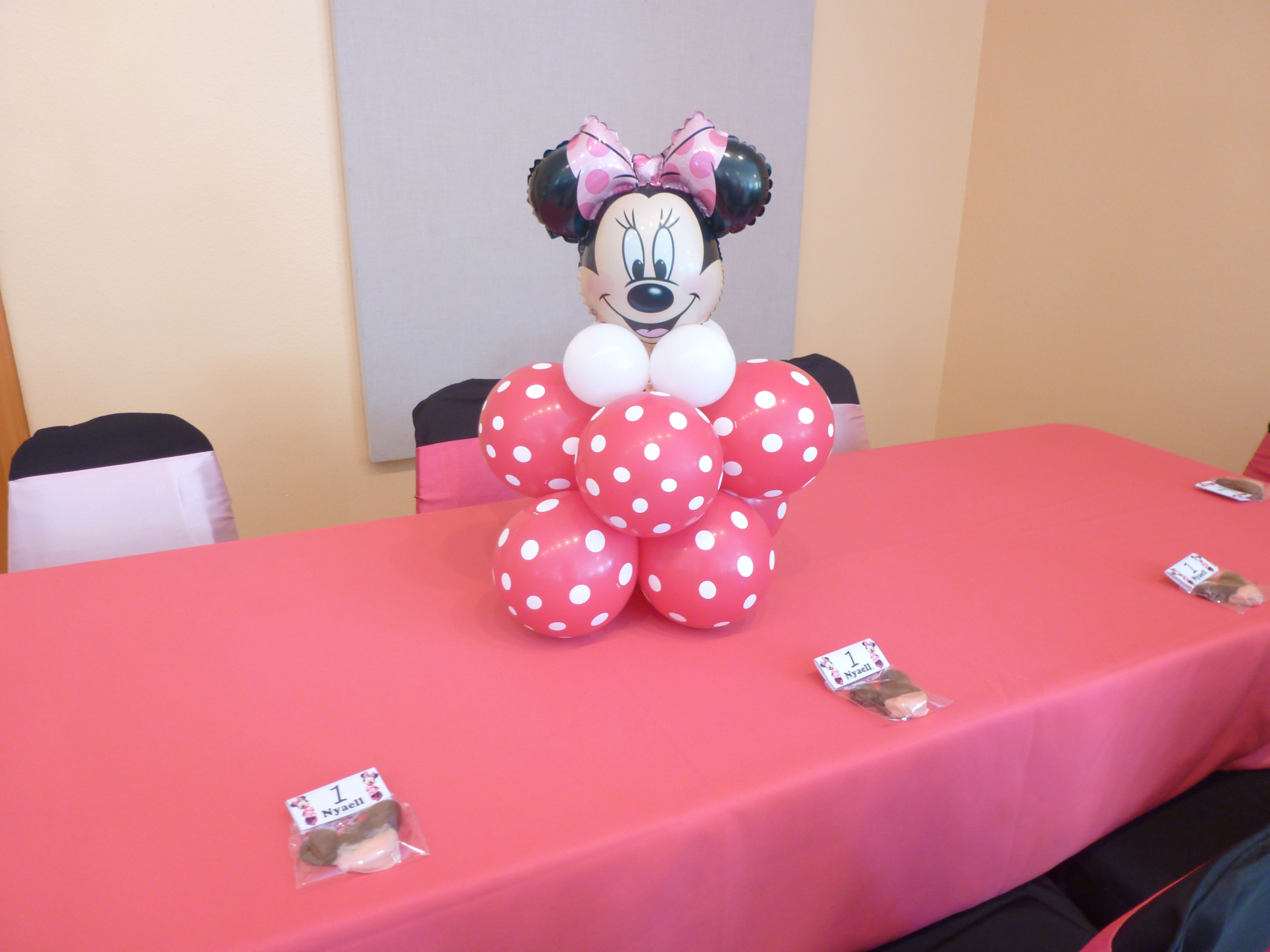 Minnie mouse balloon centerpiece baby ideas pinterest for Balloon decoration minnie mouse