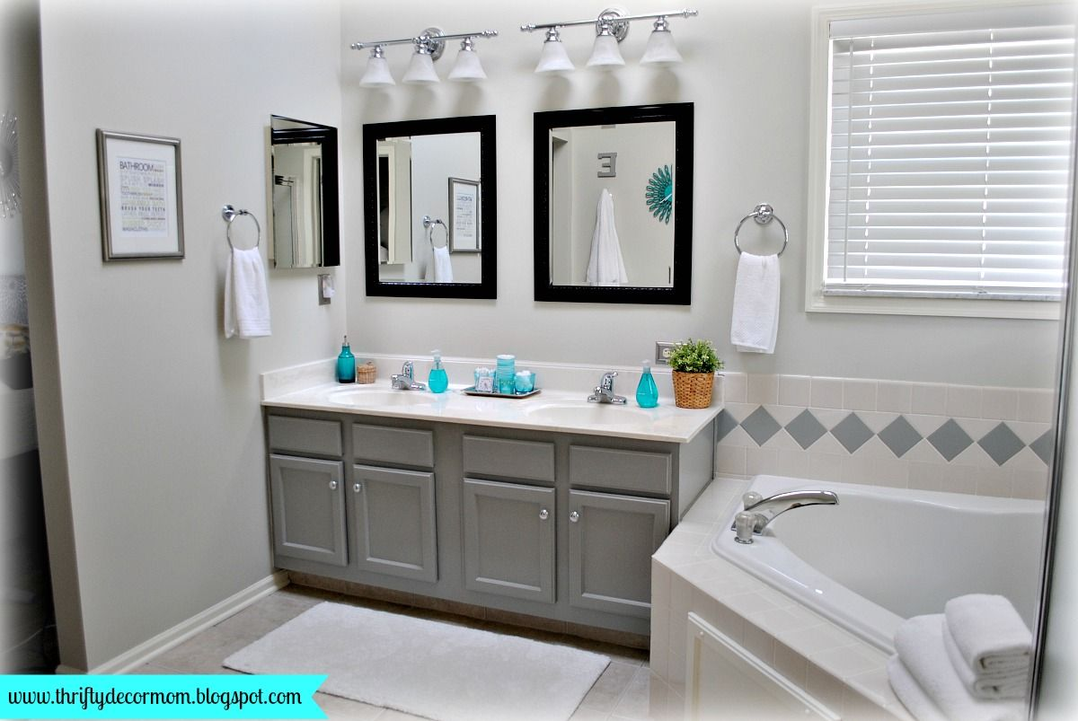 Gray white and aqua master bathroom decor pinterest for Grey and white bathroom accessories