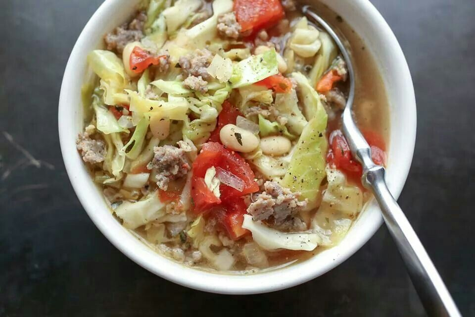 White bean cabbage and sausage soup | FOODS THE WARM IN THE WINTER/so ...